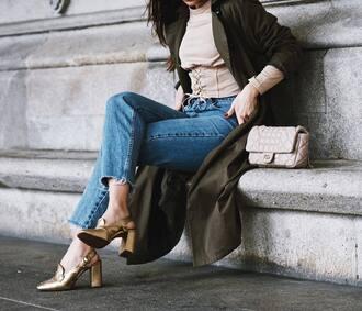 shoes tumblr gold shoes high heels heels metallic metallic shoes denim jeans blue jeans top nude top corset coat green coat duster coat bag nude bag quilted bag