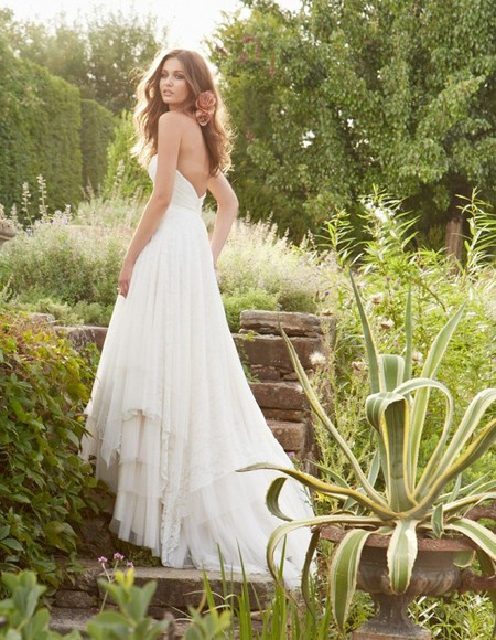 dress strapless simple layered dress wedding dress white dress