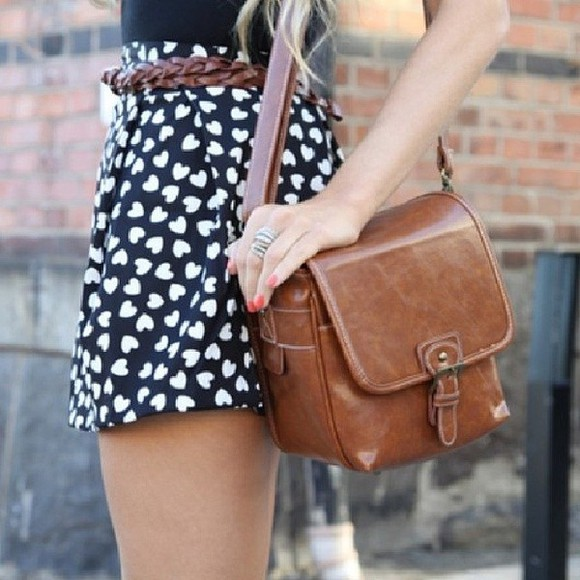 bag leather bag black skirt , white hearts, skirt black and white hearts skater high waisted skirt