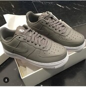 shoes,white and grey,natural colours,2016,summer,grey,grey sneakers,happily grey,sneakers,nike shoes,nike air,nike sneakers,nike air force 1,nike sportswear,nike,nikes,summer shoes,low top sneakers