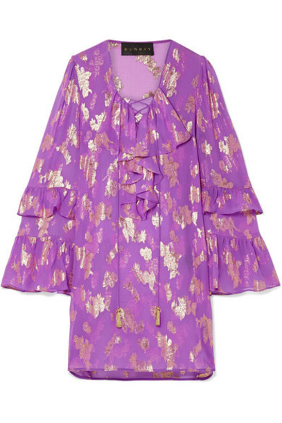 Dundas - Lace-up Metallic Fil Coupé Silk-blend Chiffon Mini Dress - Purple