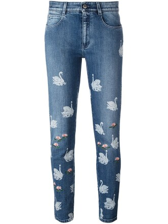 jeans women spandex boyfriend cotton print blue 24