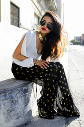 pants,trouser,flowy,blouse,gold necklace,white shirt,black and yellow,yellow polka dots,polka dot pants,mesh pants,slit top,white top,aviator sunglasses,sunglasses,choker necklace,cut-out,summer outfits,wide-leg pants