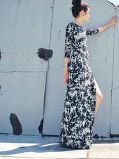 dress,side split,maxi dress,black,white,tie dye,black and white,Pop Couture,fashion blogger