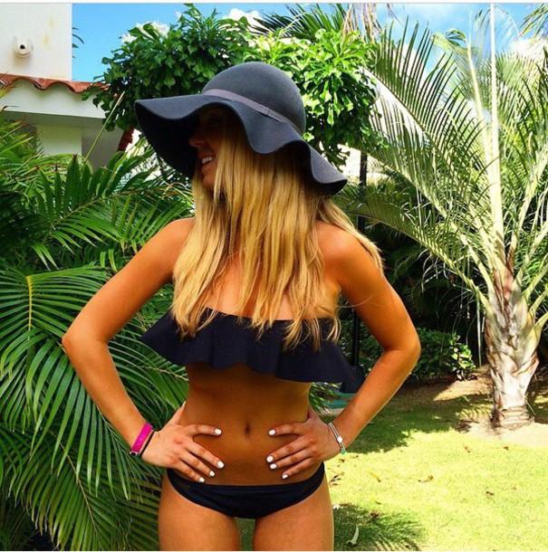 swimwear black bikini hat