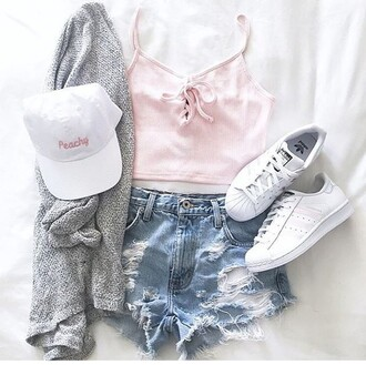 top shoes summer outfits spring shirt shorts high waisted shorts adidas addidas superstars cardigan sweater jacket hat brandy melville urban outfitters free people summer spring outfits pink top cap white white hat pink tank top pastel pink spaghetti strap lace up lace up top