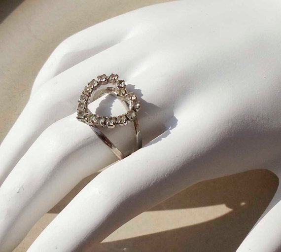 Vintage Silver Rhinestone Heart ring by PaganCellarJewelry on Etsy