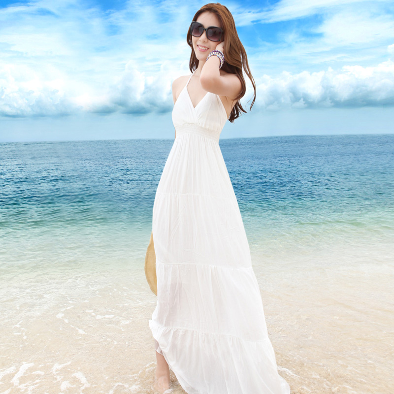 Beach V neck white mopping the floor dress full  dress bohemia summerdress fashion plus size long dress sex-inDresses from Apparel & Accessories on Aliexpress.com