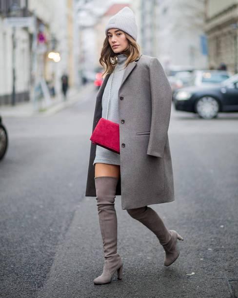 coat tumblr grey coat dress mini dress grey dress sweater dress boots bag red bag grey beanie beanie over the knee boots over the knee monochrome monochrome outfit