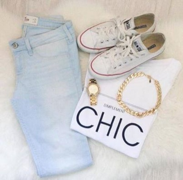 t-shirt clothes jeans jewels whole oufit shirt chic gold bracelets watch elegant classy converse white converse acid wash necklace