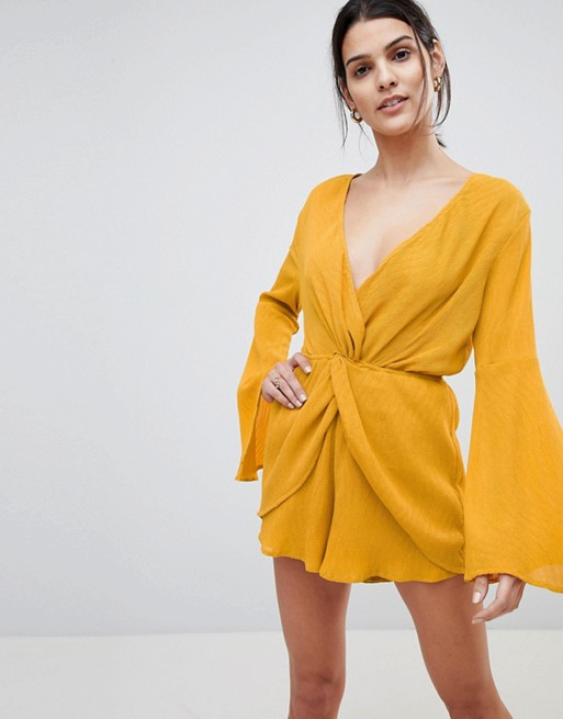 Lioness Wrap Knot Front Playsuit With Bell Sleeve Detail at asos.com