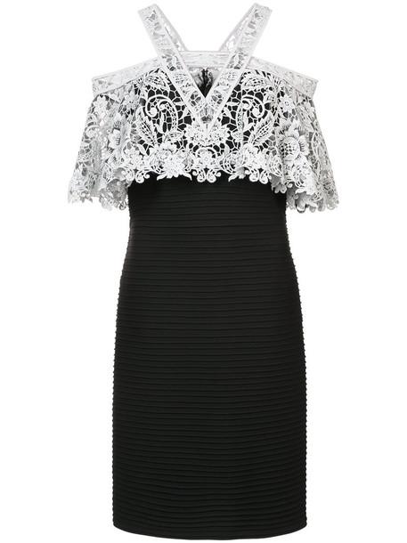 dress women spandex layered cotton black crochet