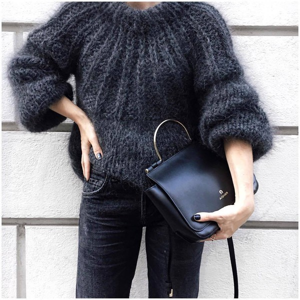 95fd7e04 sweater tumblr grey sweater fuzzy sweater cozy cozy sweater knit knitted  sweater bag black bag denim