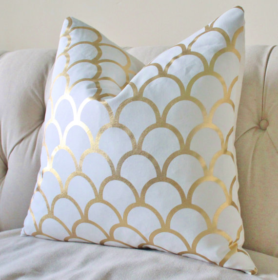 Reserved for Kim - 20 x 20 Caitlin Wilson Designer Gold Large Scale Scallop - Gold Geometric Pillow Cover - Gold Home Decor- Gold White