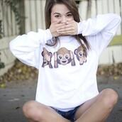 t-shirt,monkeys,white,pullover,whatsapp emoji,monkey,print,cute,white pullover,funny t-shirt,funny,shirt,top,emoji print,sweater,swearshit