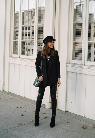 shoes leather pants hat tumblr boots ankle boots pants black pants blazer black blazer fisherman cap