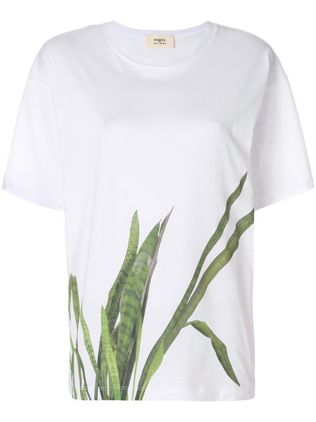 Ports 1961 - leaf print oversized T-shirt - women - Cotton - XL, White, Cotton