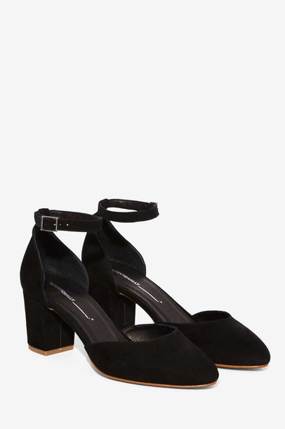 Shoes: low heels, block heels, black suede, black suede shoes ...
