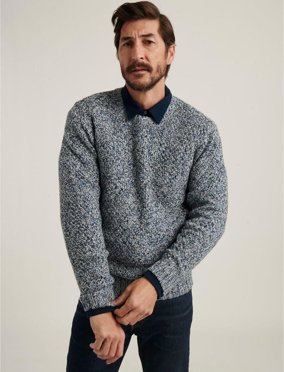 Cross Marl Stitch Pullover Sweater