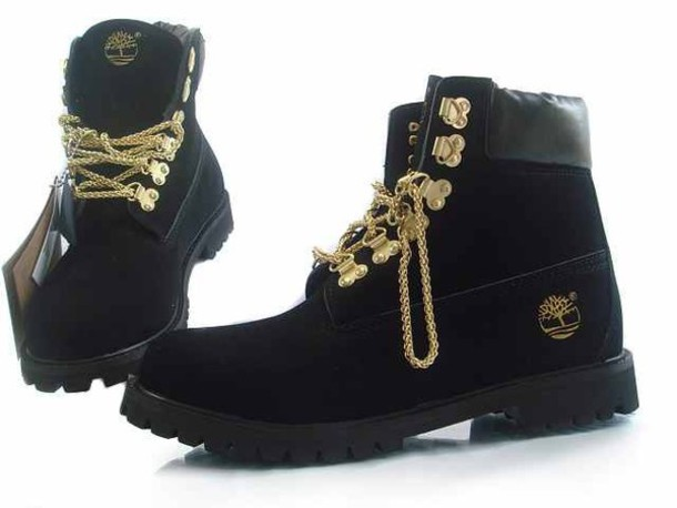 Shoes: black, boots, gold chain, gold, timberlands, timberland ...