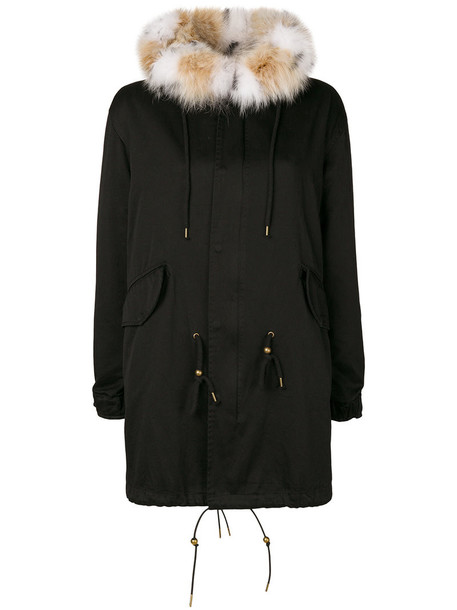 Cara Mila parka fur fox women cotton black coat
