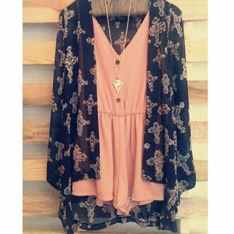 dress rose loose bohemian bohemian dress boho boho dress jacket jewels peach dress romper cardigan style floral cardigan pretty cute dress fashion cute top fringe kimono kimono floral kimono shirt pink pink romper