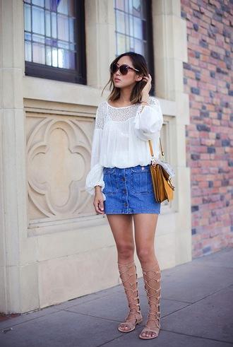 skirt white shirt sunglasses brown handbag nude gladiator sandals blogger button denim shirt denim skirt