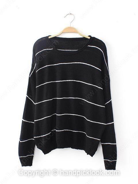 Black Round Neck Long Sleeve Striped Sweater - HandpickLook.com