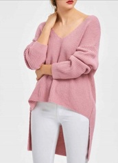 sweater,high low,girly,pink,sweatshirt,fall outfits,v neck