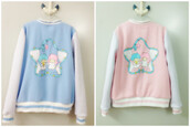 jacket,pastel fashion,pastel jacket,afashion,asian fashion,japanese fashion,kawaii,tokyo fashion,doll,living doll,princess,soft,fall outfits,winter outfits,cute,baseball jacket,pastel pink,pastel,blue,pink,girl,aesthetic,tumblr,anime,harajuku