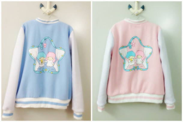 jacket pastel fashion pastel jacket afashion asian fashion japanese fashion kawaii tokyo fashion doll living doll princess soft fall outfits winter outfits kawaii cute baseball jacket pastel pink cute twin stars jacket in pastels