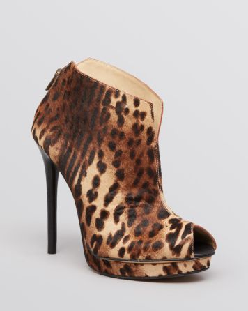 Kenneth Cole Peep Toe Platform Booties - Test Time Leopard Print | Bloomingdale's