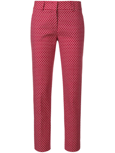 Piazza Sempione embroidered women spandex cotton red pants