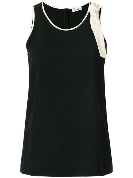 Red Valentino - bow detail vest with cream trim - women - Polyester/Acetate/Viscose - 42, Black, Polyester/Acetate/Viscose