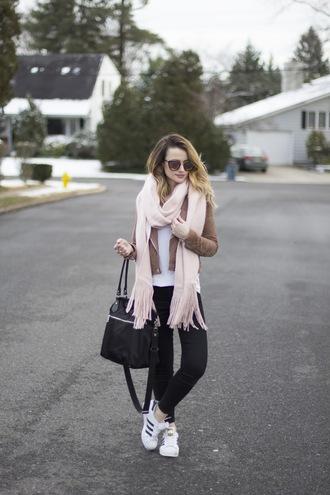 kiss me darling blogger jacket t-shirt bag scarf jewels sunglasses handbag brown jacket sneakers black jeans