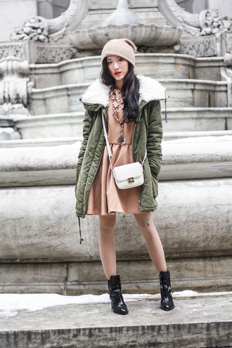 art in our blood blogger jacket parka peach dress knitted beanie patent shoes