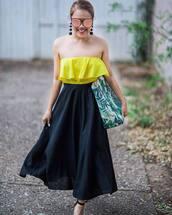 top,skirt,black skirt,tumblr,yellow,yellow top,midi skirt,earrings,pompon earrings,sunglasses,bag,jewels