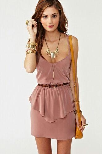dress dusty pink short party dresses jewels necklace bag bracelets ring