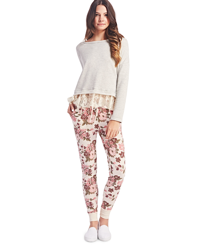 Freshman™ Floral Print Joggers | Wet Seal