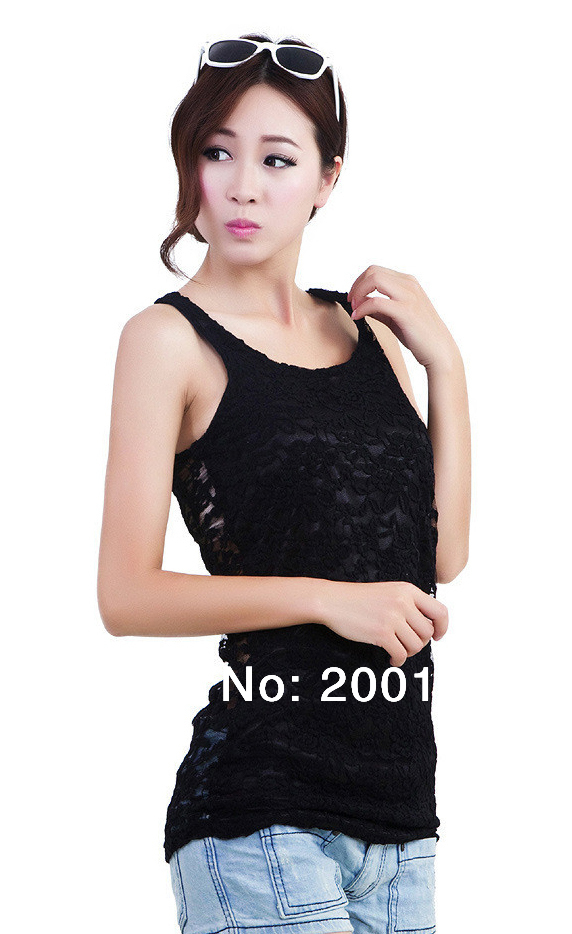 SMILE MARKET Free Shipping 2014 Hot Selling Style Full Lace Tank Top Summer Women (Color:Black,White,Beige)-in Tank Tops from Apparel & Accessories on Aliexpress.com