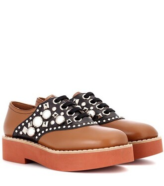 embellished shoes leather brown
