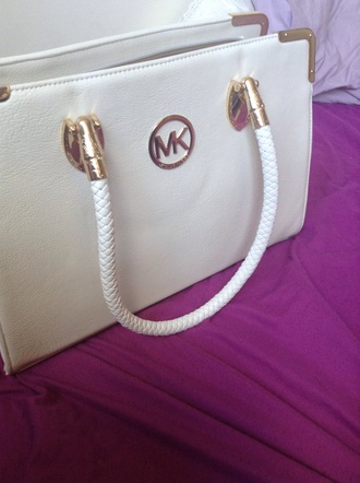 bag cute white cream love michael kors michael kors handbag purse wallet gold handle designer fashionista fashionable bag