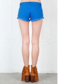 Reverse tribal heart pocket shorts in blue