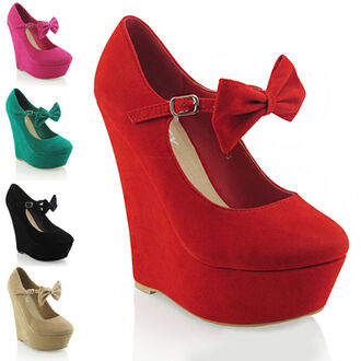 shoes mary jane shoes bows bow shoes heels wedges plarform red wedge heels