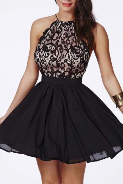 Elegant Sleeveless Criss Cross Back Lace A-Line Mini Dress