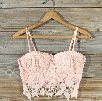shirt lace belly shirt crop tops flowers floral see through light pink lace top