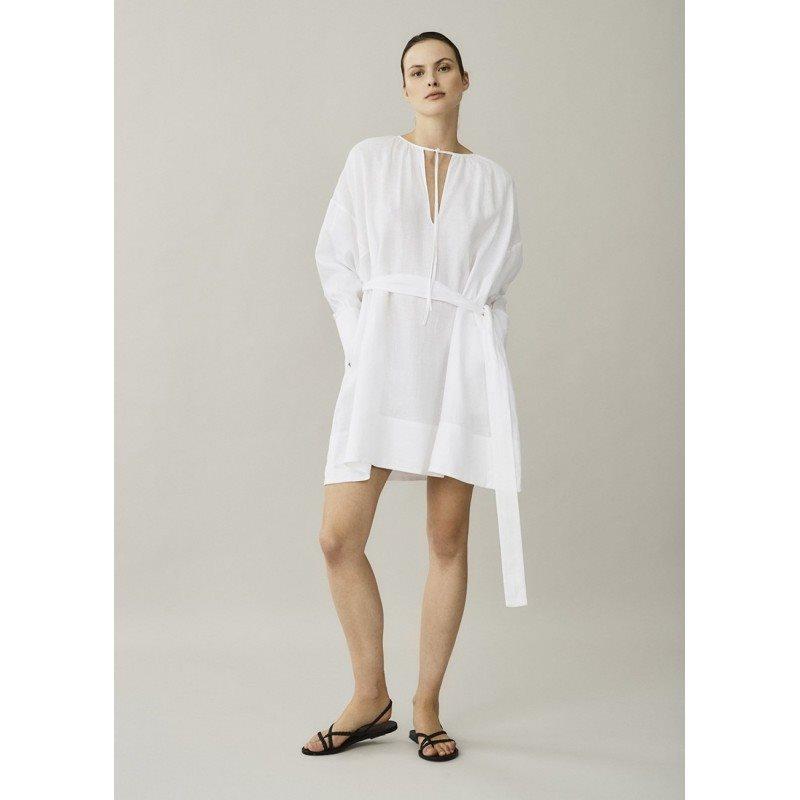 Santorini White Linen Dress