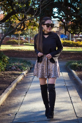 gracefullee made blogger top skirt shoes sunglasses jewels bell sleeves thigh high boots boots blouse black blouse sequin skirt