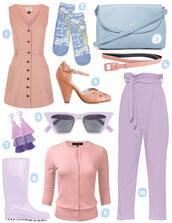scathingly brilliant,blogger,socks,bag,belt,shoes,sunglasses,jewels,cardigan,pants,fall outfits,pastel,pastel bag,wellies