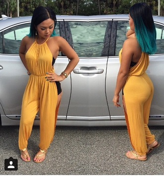 jumpsuit outfit gold yellow style sandals one piece
